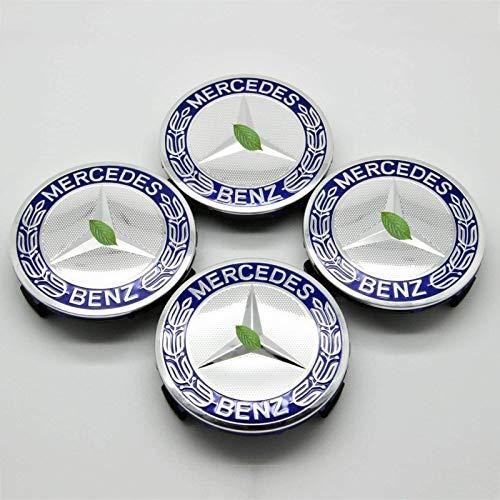 LODYPERO Tapas Cubo Centro Rueda, 75 Mm / 3 Pulgadas, Azul Oscuro, Tapa De Cubo, Ajuste para Automóvil para Todos Los Modelos De Mercedes Benz con (4 Piezas)