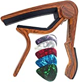 WINGO Guitar Capo for 6-String Acoustic Electric Guitars, Quick Change for Ukulele Banjo Mandolin Bass with 5 Free Picks, Rosewood acoustic guitars Apr, 2021