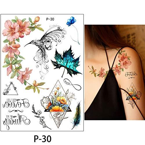 adgkitb 3 Piezas Flor pájaro calcomanía Falso Mujeres Hombres DIY Arte Tatuaje diseño Mariposa árbol Rama Vivo Tatuaje Temporal Pegatina P-30 14.8x21 cm