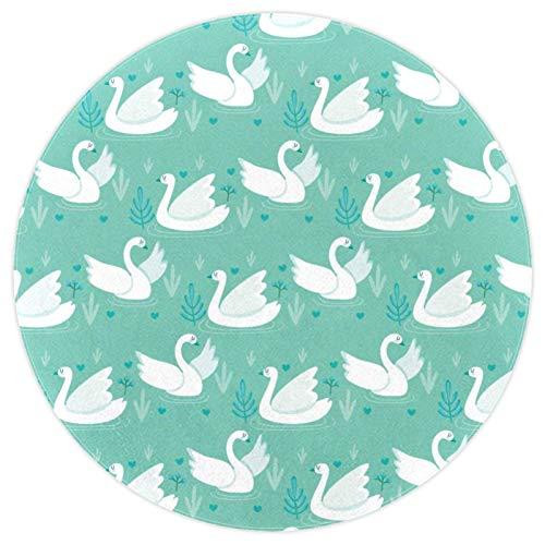 Alfombra redonda súper suave para el suelo interior de la sala de estar, acolchada para dormitorio, alfombra impresa de 120 cm, diseño de cisne blanco jugando piscina verde