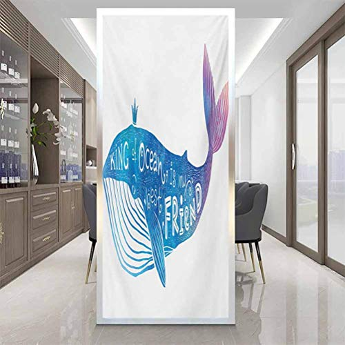 Static Window Sticker Glass Film, King King of Ocean is My Best Friend in Watercolor Abst, Home Window Tint Film Heat Control, W23.6 x H47.2 Inch