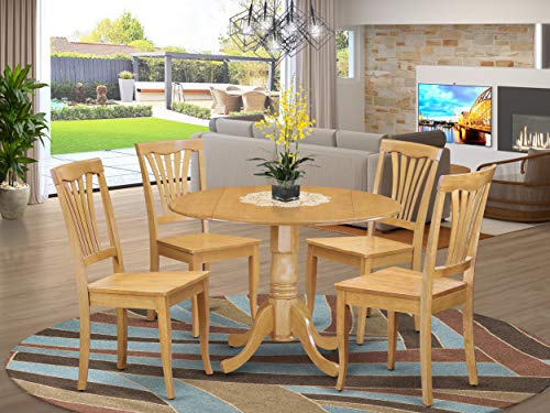 5 PC Kitchen Table set-drop leaf Table and 4 dinette Chairs
