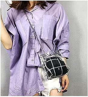 Fashion Single-Shoulder Bags PVC Material Transparent Twinset Bag Plastic Bag Sling Bag Single-Shoulder Bag (Black) (Color : Black)