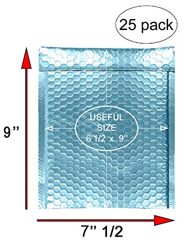 AMZ Bubble mailers 6.5 x 9 Pack of 25 Aqua Ice Padded envelopes 6 1/2 x 9. Metallic Shipping Bags for mailing, Packaging #0 25 Pack Photo #7