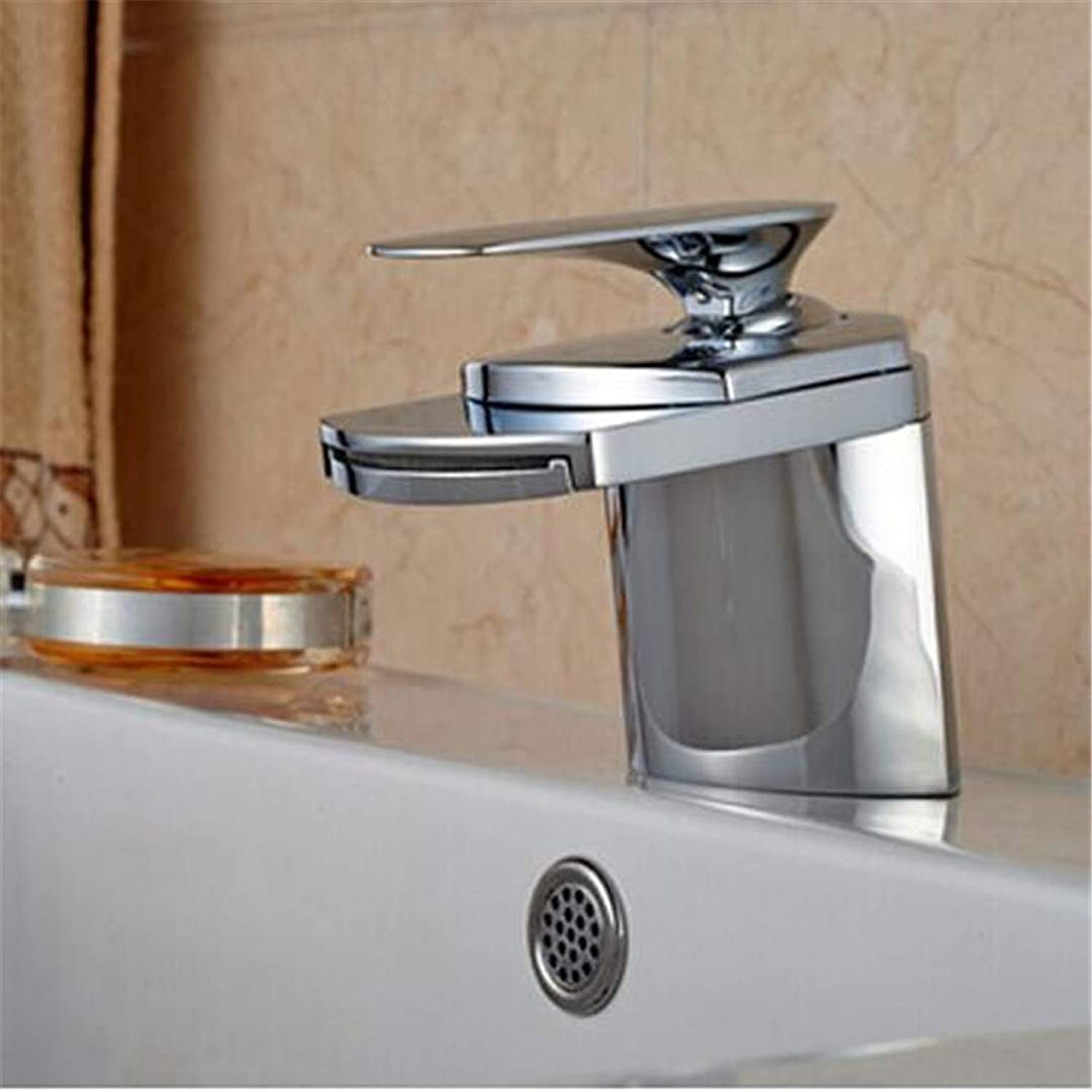 Oudan Bathroom Basin Faucet Kitchen Faucet Hot and Cold Taps Crosschrome Brass Big Waterfall Bathroom Faucet Deck Mounted Single Handle Hole Mixer Tap (color   -, Size   -)