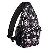 MOSISO Sling Backpack,Travel Hiking Daypack Pattern Rope Crossbody Shoulder Bag, Black Base Floral