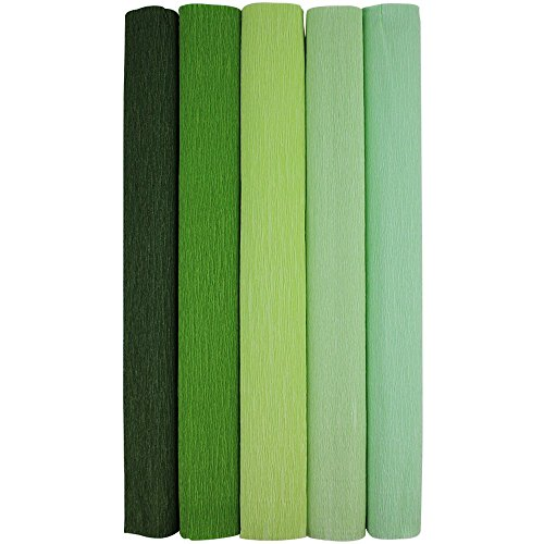 Just Artifacts Premium Crepe Paper Rolls - 8-Feet Length/20-Inch Width (5pcs, Color: Shades of Green)