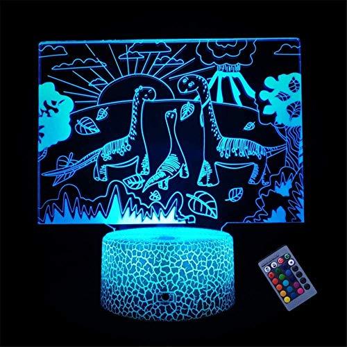 Luz nocturna 3D, ilusión óptica, dinosaurio, ilusión óptica, lámpara de ilusión óptica, 16 colores, regulable, con USB, control táctil con base de grieta+mando a distancia para niños y niñas