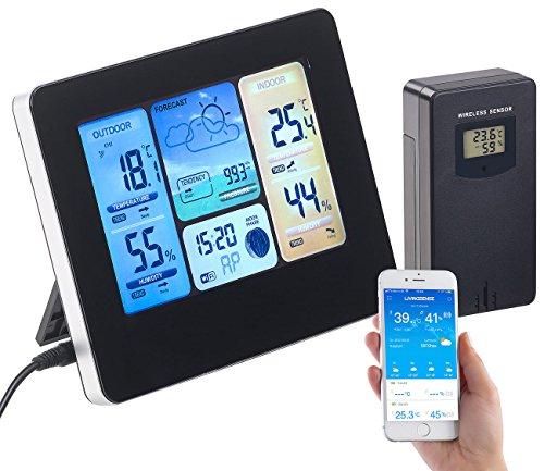 infactory Thermometer WLAN: WLAN-Funk-Wetterstation mit Außensensor, Farbdisplay, Uhr & Gratis-App (Wetterstation großes Display)