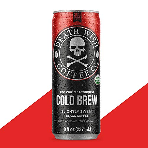 DEATH WISH COFFEE Canned Organic Iced Cold Brew, Slightly Sweetened Black [8 fl oz | 12 pack | 300mg of Caffeine] The World's Strongest, Dairy Free, Low Carb, Keto Friendly Energy Drink