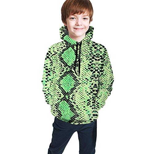 Teen Hip-Hop Sudadera con Capucha Impresa en 3D con Bolsillo Top Casual Negro Black Green Snake Print S