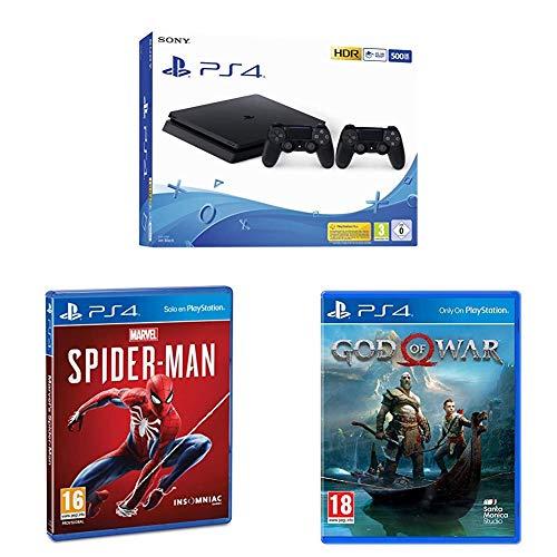 Playstation 4 (PS4) - Consola 500 Gb + 2 Mandos Dual Shock 4 (Edición Exclusiva Amazon) nuevo chasis + Marvel's Spider-Man (PS4) + God of War - Edición Estándar