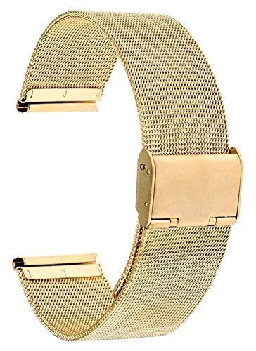 ZJSXIA Banda de Reloj Universal 16mm 18 mm 20 mm 22 mm 24 mm Malla de Acero Inoxidable Reloj de Acero Inoxidable Correa de Correa Pulsera Black Rose Gold Silver Strap Strap Correas de Reloj