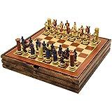Juego de ajedrez Juego de ajedrez de madera maciza Crusader Theme Of Civil War Juegos de ajedrez Piezas de ajedrez de resina Juego de mesa de madera Ajedrez temático Ajedrez de lujo (tamaño: 36.5cm)