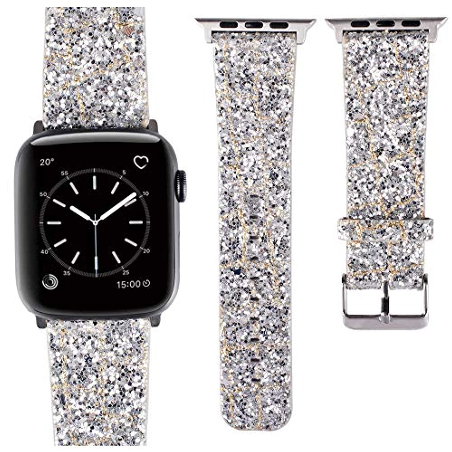 AKOPUGA Compatible with Apple Watch Band 42mm 44mm Shiny 3D Power Glitter Bling Leather Wristband iWatch Strap Replacement for Apple Watch Series 4/3/2/1(Silver, 42mm/44mm)