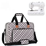 Luxja Sewing Machine Bag, Portable Tote Bag for Sewing Machine and Extra Sewing Accessories, Grey Dots