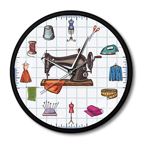 JJYM wandklok quilten tijd naaien naaimachine metalen frame wandklok geschenk voor u