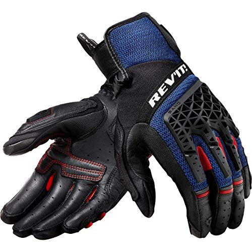 REV'IT! Motorradhandschuhe kurz Motorrad Handschuh Sand 4 Handschuh schwarz/blau XL, Herren, Tourer, Ganzjährig, Leder/Textil