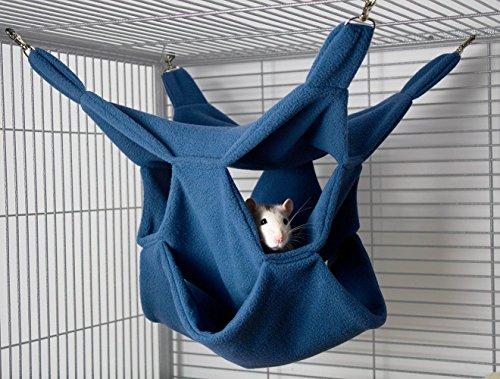 Rodents Residence DREI Ebenen Hängematte Kleintier Höhle Haus Häuschen Ratte Chinchilla Frettchen Degu (Blau)
