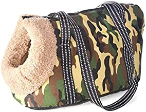 Camouflage Soft Padded Dog Carrier Bag Wool Lined Small and Comfortable