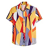 Mens Hawaiian Shirt Lapel Summer Stylish Short Sleeve Casual Printing Blouse...