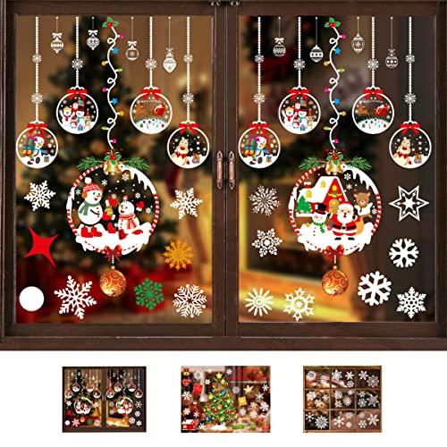 Autocollant Noël pour Fenêtre, SILARLAIT 3 SET Sticker Noël Fenêtre Amovible & Réutilisable, Décoration Noël Stickers Fenêtre, 3 Thèmes, Déco Noël & Hiver DIY pour Vitre, Vitrine, Fenêtre