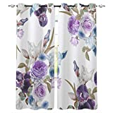 MXYHDZ Blackout Curtains for Bedroom - Purple plants flowers creativity - 3D Print Pattern Eyelet Thermal Insulated - 86 x 85 Inch Drop - 90% Blackout Curtains for Kids Boys Girls Playroom