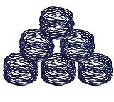 elite DECORIO Blue Napkin Rings Set of 6 Handmade Wedding Christmas Holiday Holder for Dinning Table Metal Dia 4.5 cm