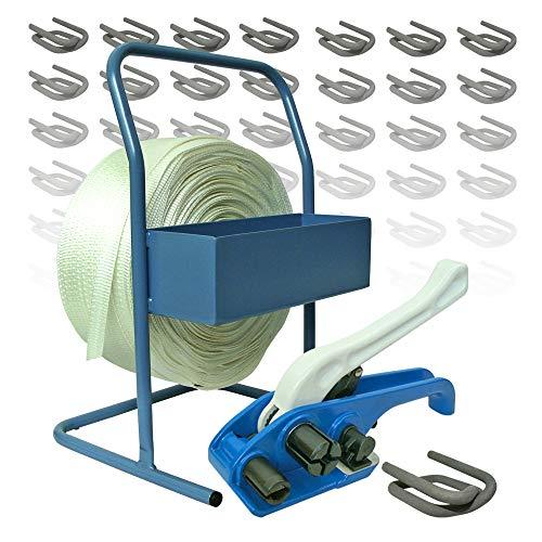 Umreifungsset gewebt, 25 mm, 500 m Umreifungsband mit Spanngerät und Abroller