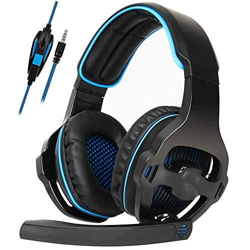 RHL Auriculares de juego para Xbox One PS4 PS5 PC Auriculares con micrófono para computadora (color azul)