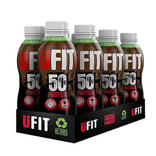 Ufit High 50g Protein Shake, No Added Sugar, Fat Free, Chocolate Flavour Ready to Drink, Pack of 6 x 500 ml