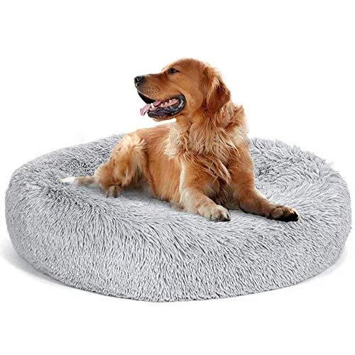 Fangqiyi Round Deluxe Haustierbett für Hunde und Katzen, mit Reißverschluss, leicht zu entfernen und zu waschen, Kissen für Katzen/Hunde, 60 cm-120 cm / 5 Größen, Kunststoff, grau, 80 cm …
