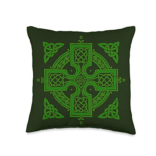 St. Patricks Day Parade Apparel Inc. Irish Celtic Cross Graphic for Christians St. Patrick's Day Throw Pillow, 16x16, Multicolor