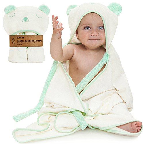Premium Extra Soft Hooded Bamboo Baby Bath Towel, Organic, Boys & Girls, Ties on Parents Neck, with eBook, Sized from Infant to Toddler, Baby Shower, Mint Green