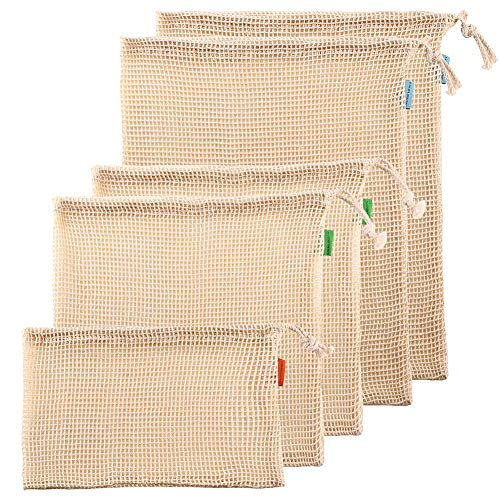 Reusable Produce Bags Natural Organic Cotton Mesh Net for Grocery Shopping See Through Set of 5 1Small2Medium2Large with Tare WeightDrawstringWashable for VeggiesBulk GoodsFruitFarmer Market