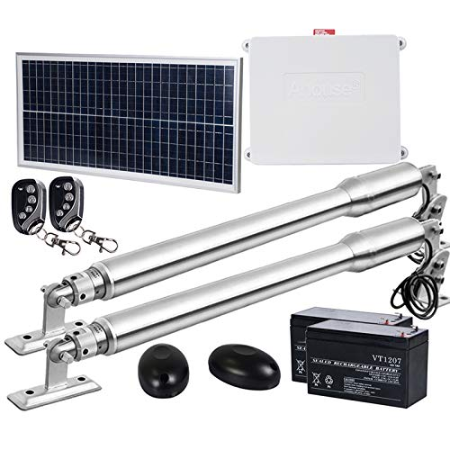 FISTERS EM3 Automatic Gate Opener Kit for Heavy Duty Dual Swing Gates Up to 8.2Feet/Leaf 1 pcs 20W Solar Panel 2pcs 7Ah Batteries Included (Shipped in Two Packages)