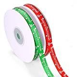 MELLIEX 50 Yards Christmas Ribbon Christmas Wrapping Printed Grosgrain Ribbon for Party...
