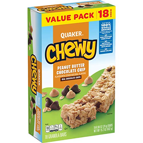 Quaker Chewy Granola Bars, Peanut Butter Chocolate Chip, 18 Bars