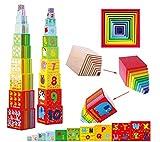 TOWO Caja apilable madera - Cubos apilables del Alfabeto de Madera para Aprender...