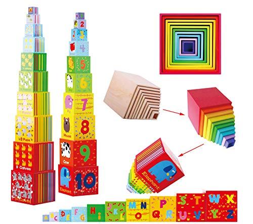 TOWO Caja apilable madera - Cubos apilables del Alfabeto de Madera para Aprender los números, Aprender Colores y Animales - Juguete Educativo 2 años - Juguetes montessori educativos
