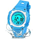 Reloj Digital Deportivo para Niños, Reloj de Pulsera Niña Multifunción con Pantalla LED Impermeable 30M para Niños, Niñas Reloj Infantil Aprendizaje para Niños 4-15 Años (Rojo) (Azul)