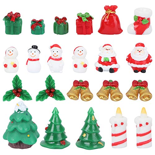 Amosfun 23pcs Mini Christmas Ornaments Santa Claus Snowman Miniatures Resin Christmas Cake Figurines Christmas Dollhouse Fairy Garden Decorations (Random Style)