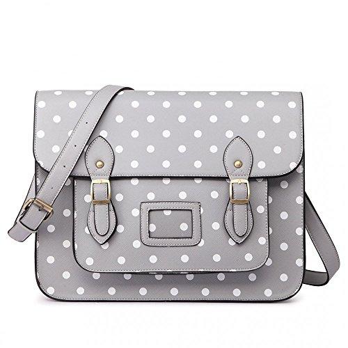 Women Ladies Girls Cambridge Style School Work Satchel Bag (Polka Dot Grey)