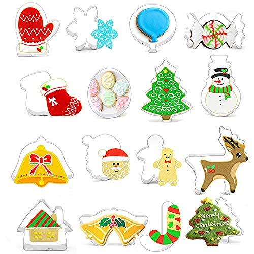 Stampini per biscotti natalizi, in acciaio inox, accessori da forno 3D fai da te, strumenti di cottura per fondente, biscotti fai da te Confezione da 16 pezzi.