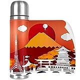 Termo Taza 500ML Torre de montaña Travel Mug Frasco de Vacío de Acero Inoxidable Termo Con tapa Aislado al Vacío 26x6.7cm