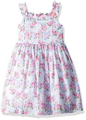 Laura Ashley London Mädchen Ruffle Collar Dress Kleid für besondere Anlässe, Blau gestreift, rosa Blumen, 6X