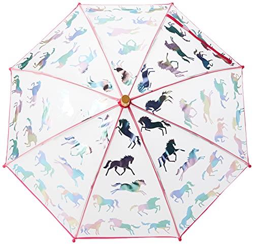 Hatley Girl's Printed Umbrella Raincoat, Rainbow Horses, One Size