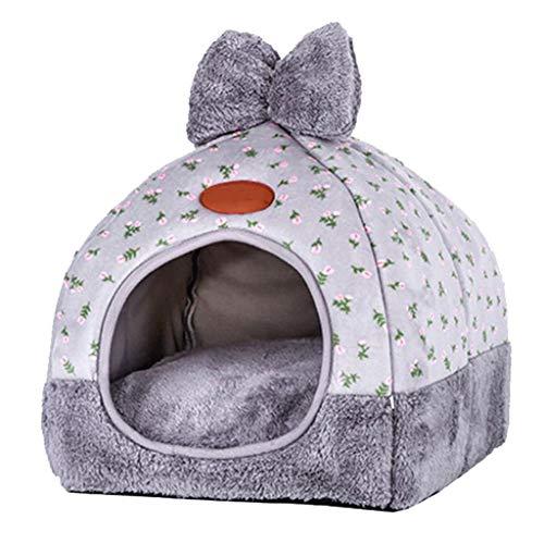LXYPLM Hundebett Katzenbett Hundesofa Pet House Puppy Nest Warm Plüsch Decke Folding Hundematte Anti-Rutsch-Auflage-waschbare Schlafmatratze - Grau Warme Weiche Hundekorb (Size : M)
