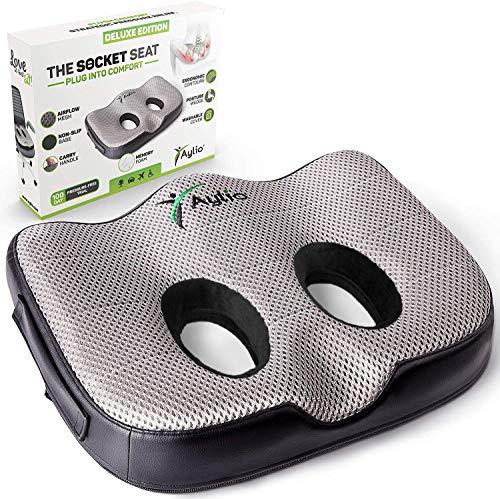 Aylio Socket Seat - Memory Foam Sit Bone Relief Cushion for Butt, Lower Back, Hamstrings, Hips, Ischial Tuberosity