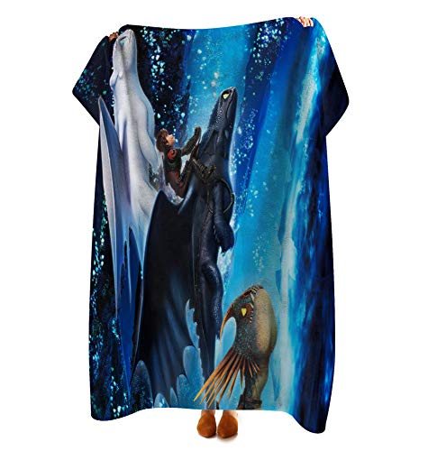 VASHU How to Train Your Dragon Fleece Throw Blanket Super Soft Warm, Lightweight Cozy Fuzzy Blanket for Couch Sofa Bed 40' × 50'